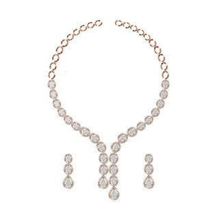 14k Yellow Gold 6.921 Ct. Diamond Necklace/1.959 Ct. Earrings Set