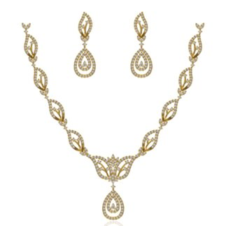 14 k Yellow Gold 2.283 ct. Diamond Necklace / 0.985 ct. Earrings