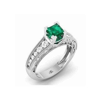 14K White Gold Green Stone/ Natural Diamonds Ring