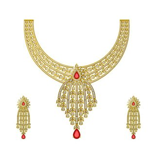 14K Yellow Gold Natural 11.945 Ct Diamond Necklace / 2.232 Ct Diamond Earrings Set