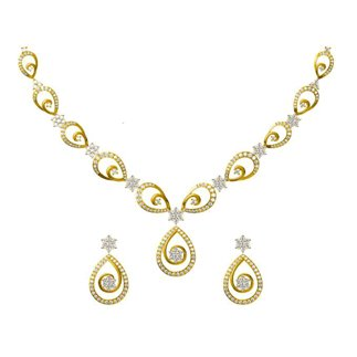 14k Yellow Gold 2.740 ct. Diamond Necklace/ 1.144 ct. Earrings Set