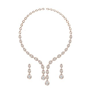 14k Yellow Gold 3.584 Ct. Diamond Necklace/ 1.164 Ct. Earrings Set