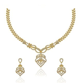 14K Yellow Gold 1.870 ct. Natural Diamond Necklace/ 1.056 ct. Earrings Set