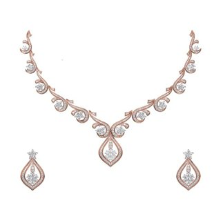 14k Yellow Gold 6.561 Ct. Diamond Necklace/Earrings Set