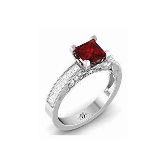 14K White Gold Red Stone/ Natural Diamonds