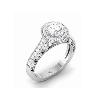14K White Gold Natural Diamond Engagement Ring (Center Stone Not Included)