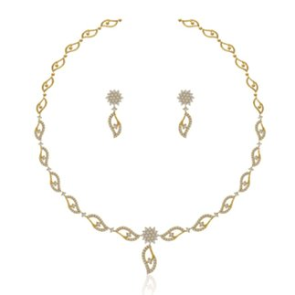14K Yellow Gold 1.573 ct. Diamond Necklace/ 0.866ct. Earring