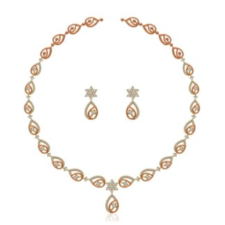 14K Yellow Gold 2.795 ct. Natural Diamond Necklace / 1.020 ct. Earring Set