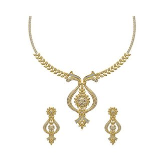 14K Yellow Gold 2.920 Ct. Diamond Necklace/ 1.036 Ct. Earring Set