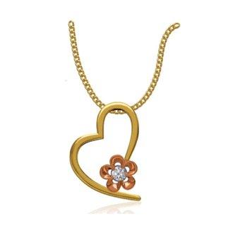 14k Two Tone 0.06 Ct. Diamond Pendant Heart Shape with Flower