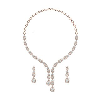 14K Yellow Gold 4.234 Ct. Diamond Necklace /1.344 Ct. Earrings Set