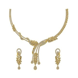 14K Yellow Gold 4.492 Ct. Diamond Necklace /1.471 Ct. Earrings Set