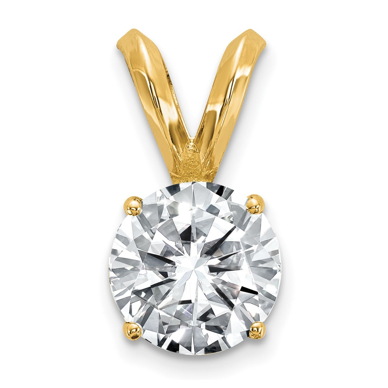 14ky 1.00ct. 6.5mm Round Moissanite Solitaire Pendant