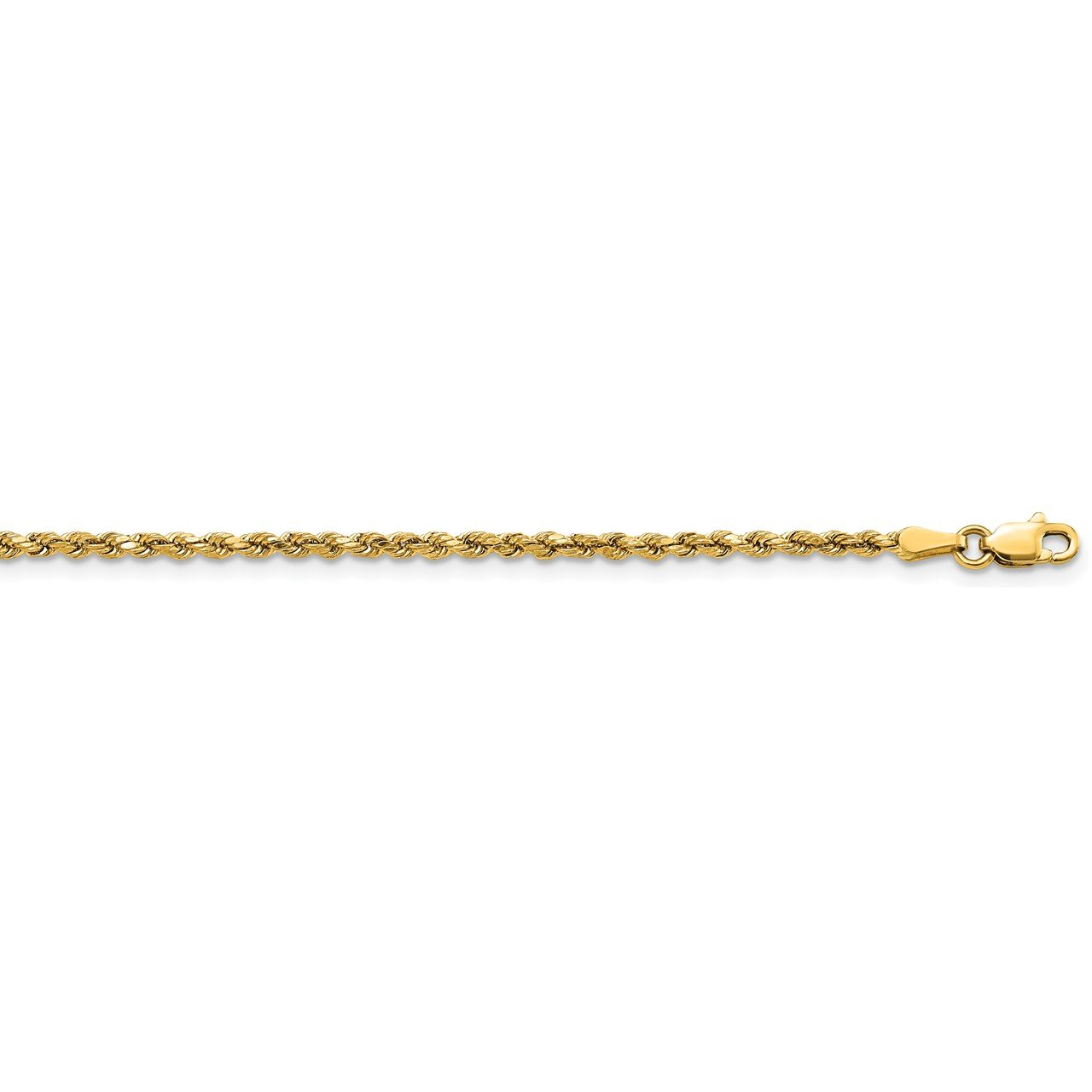 14k 2.25mm Semi-solid D/C Rope Chain