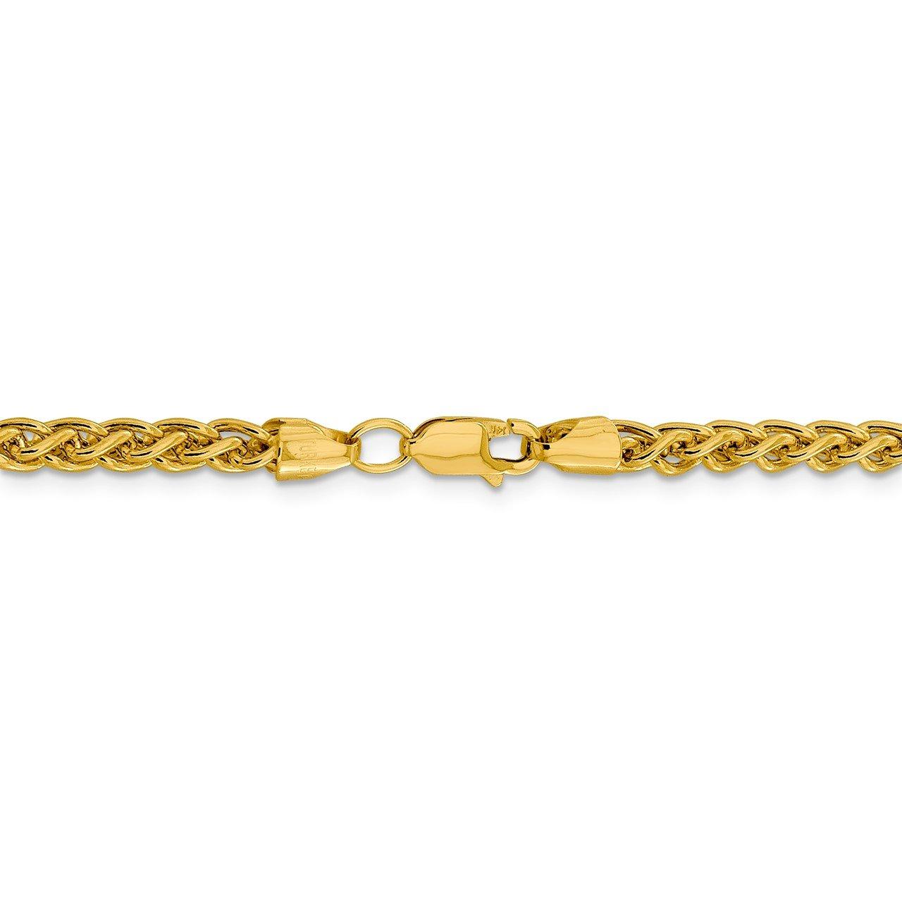 14k 4.15mm Semi-solid Wheat Chain-3