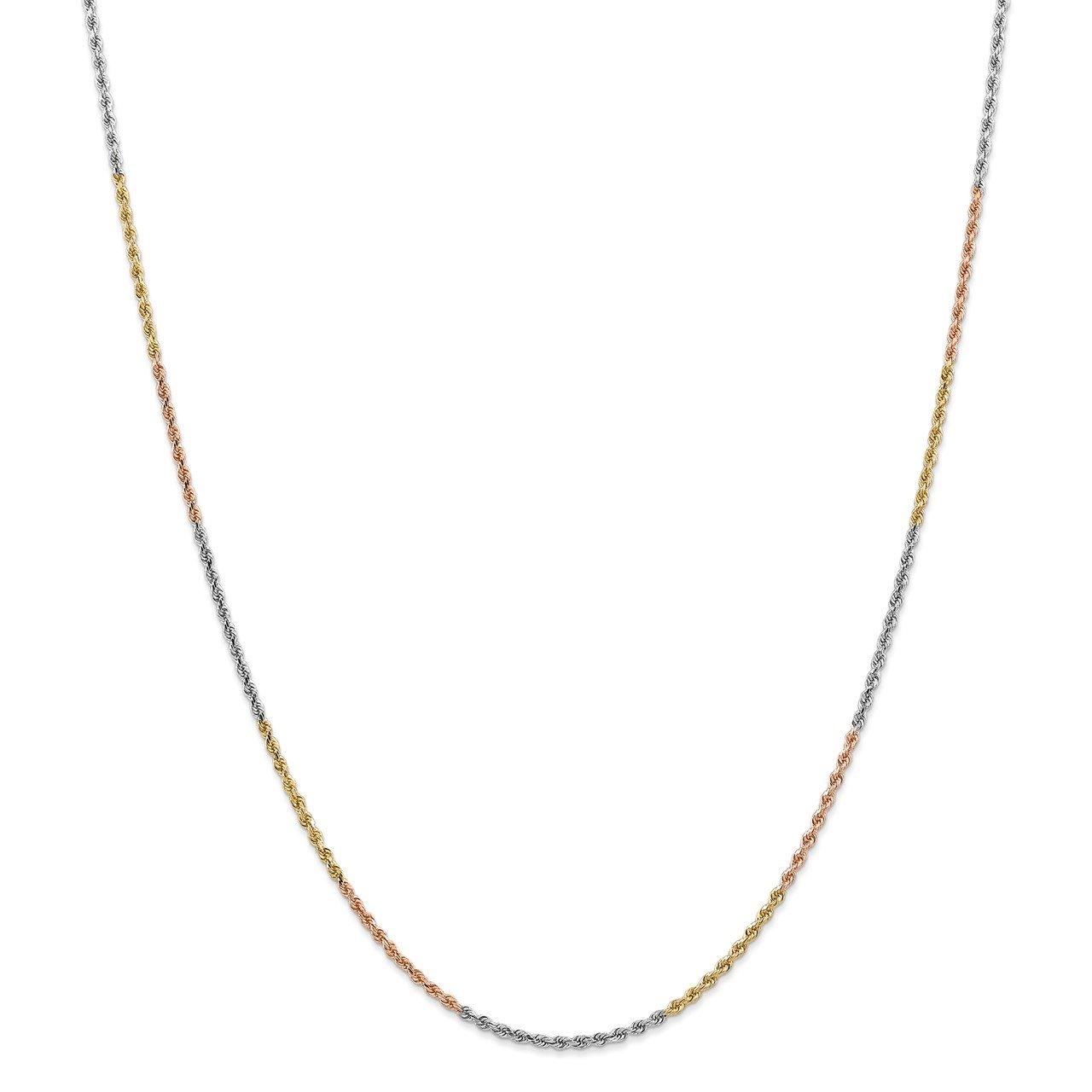 14k Tri-Color 1.75mm D/C Rope Chain