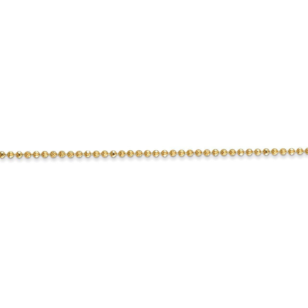 14k 1.2mm D/C Beaded Pendant Chain-2