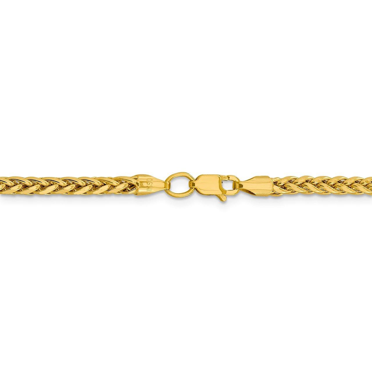 14k 3.1mm Semi-solid D/C Wheat Chain-3