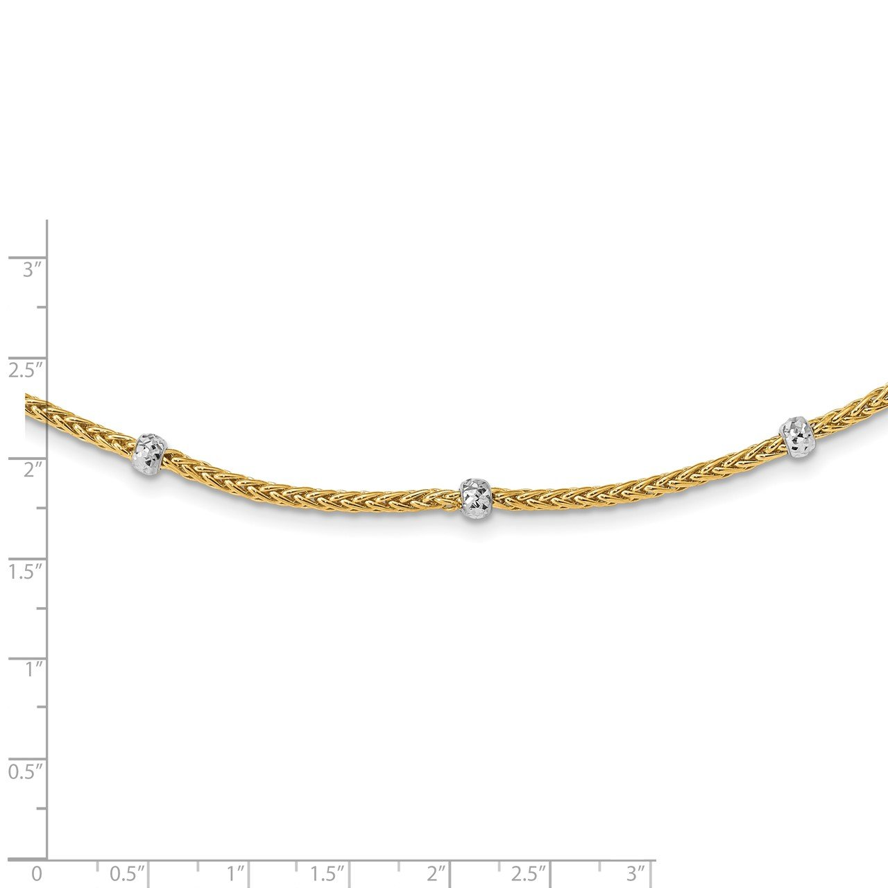 14K and White Rhodium Polished D/C Beaded Wheat Necklace-2