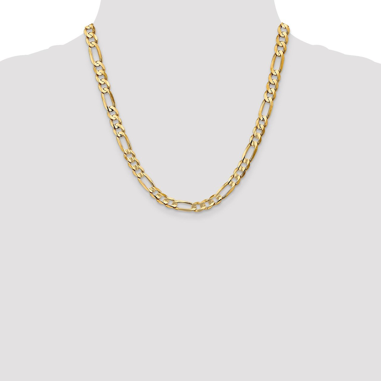 14k 6.75mm Concave Open Figaro Chain-1