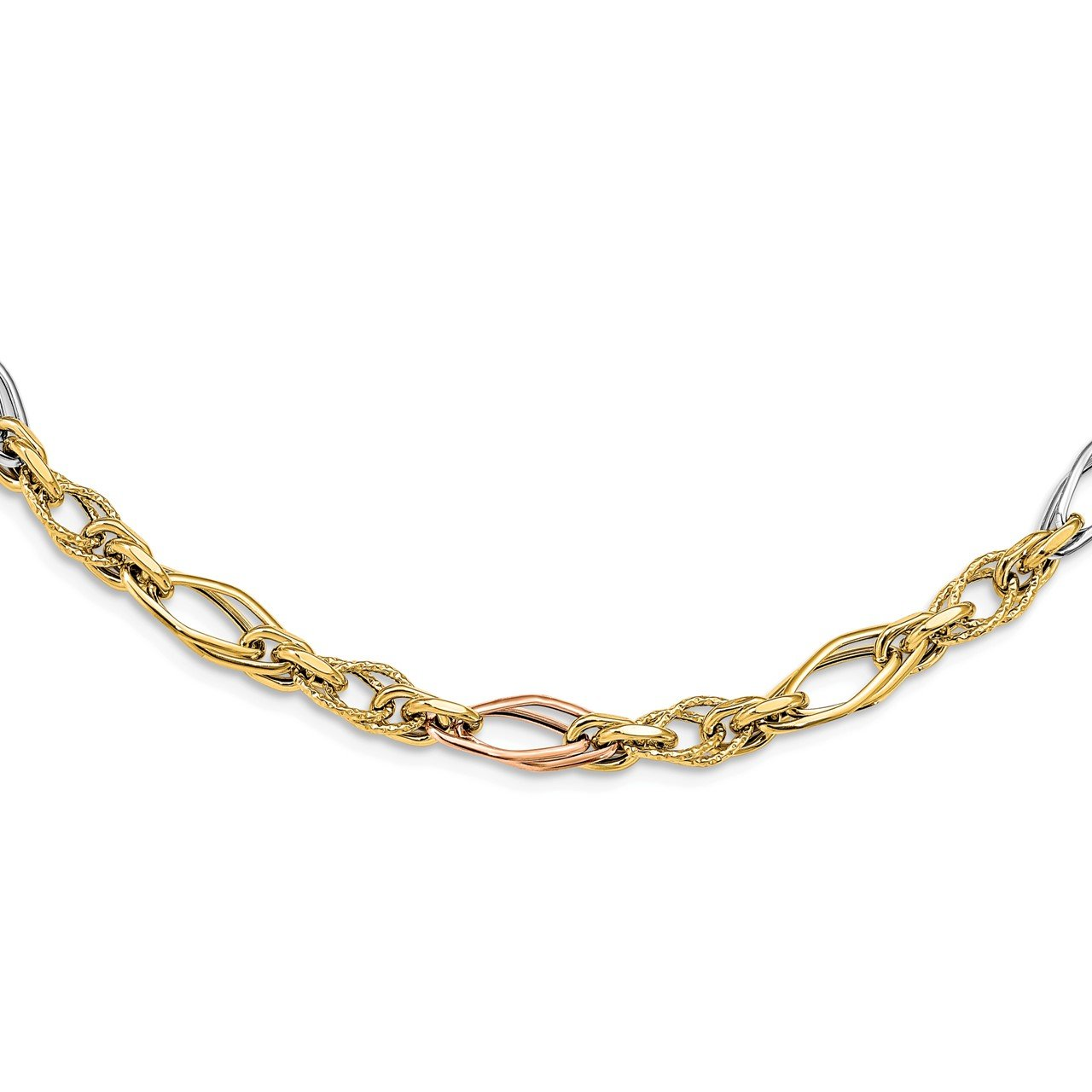 Leslie's 14k White and Rose-plated Polished and Textured Link Necklace