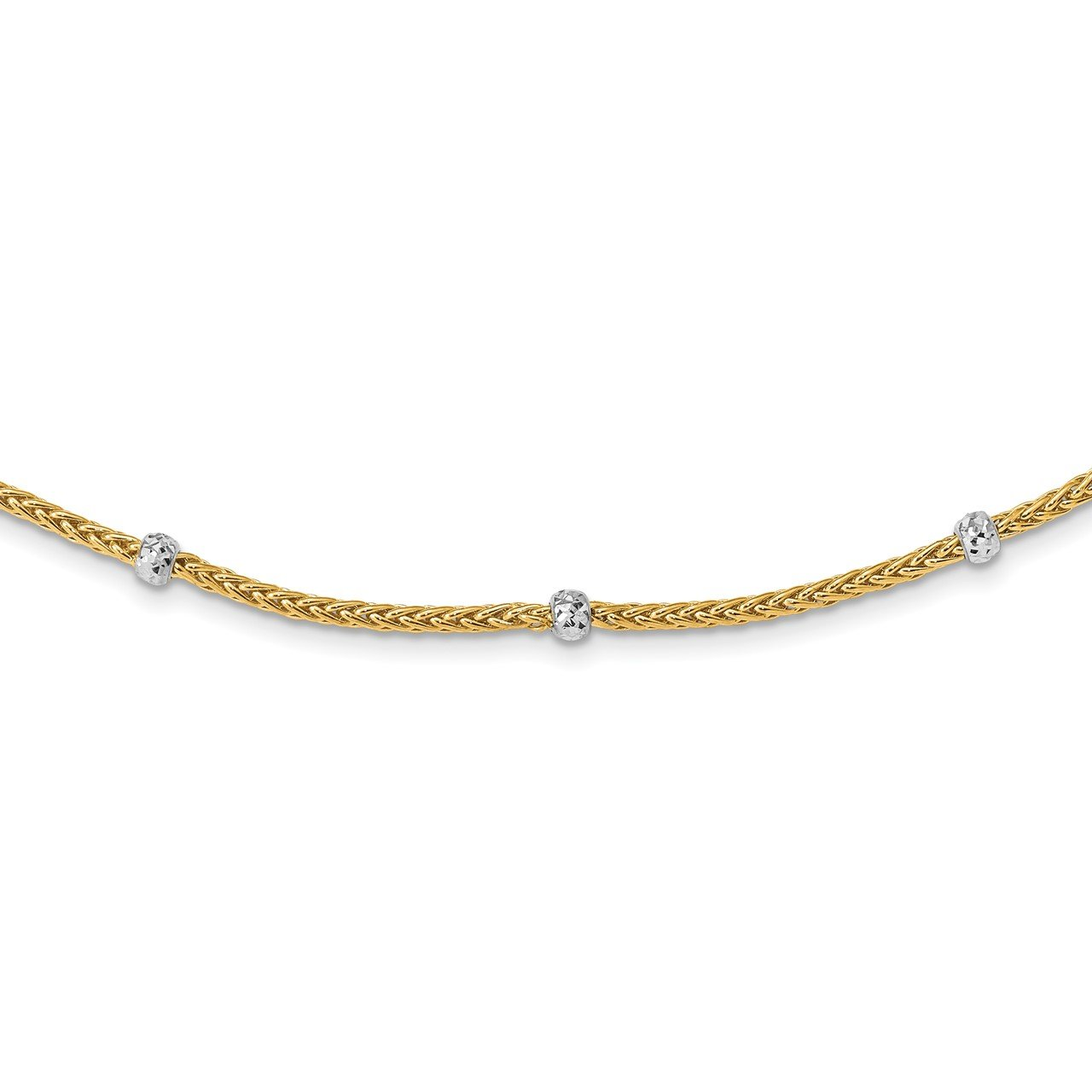 14K and White Rhodium Polished D/C Beaded Wheat Necklace