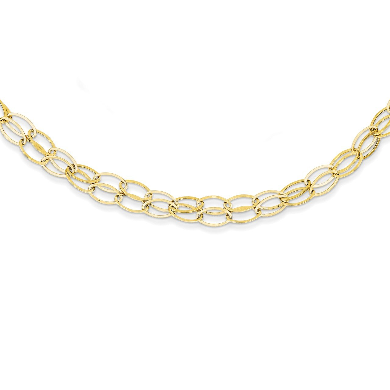 14K Double Strand Oval Links with 2in Ext Necklace