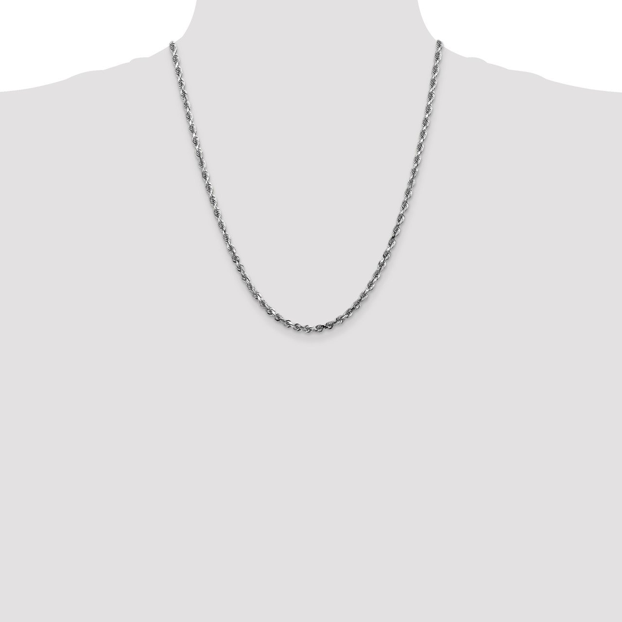 14k White Gold 4mm D/C Quadruple Rope Chain-1