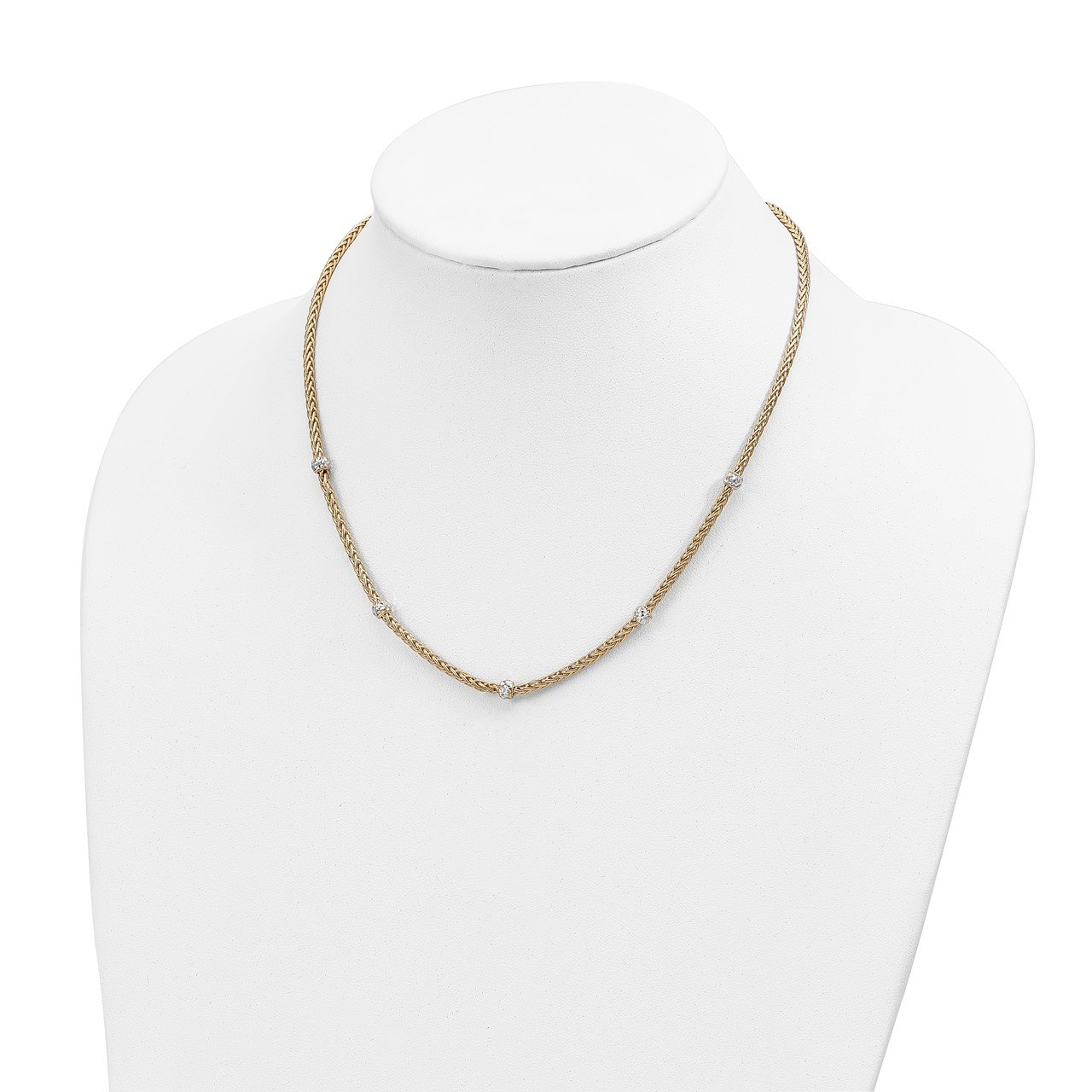 14K and White Rhodium Polished D/C Beaded Wheat Necklace-1