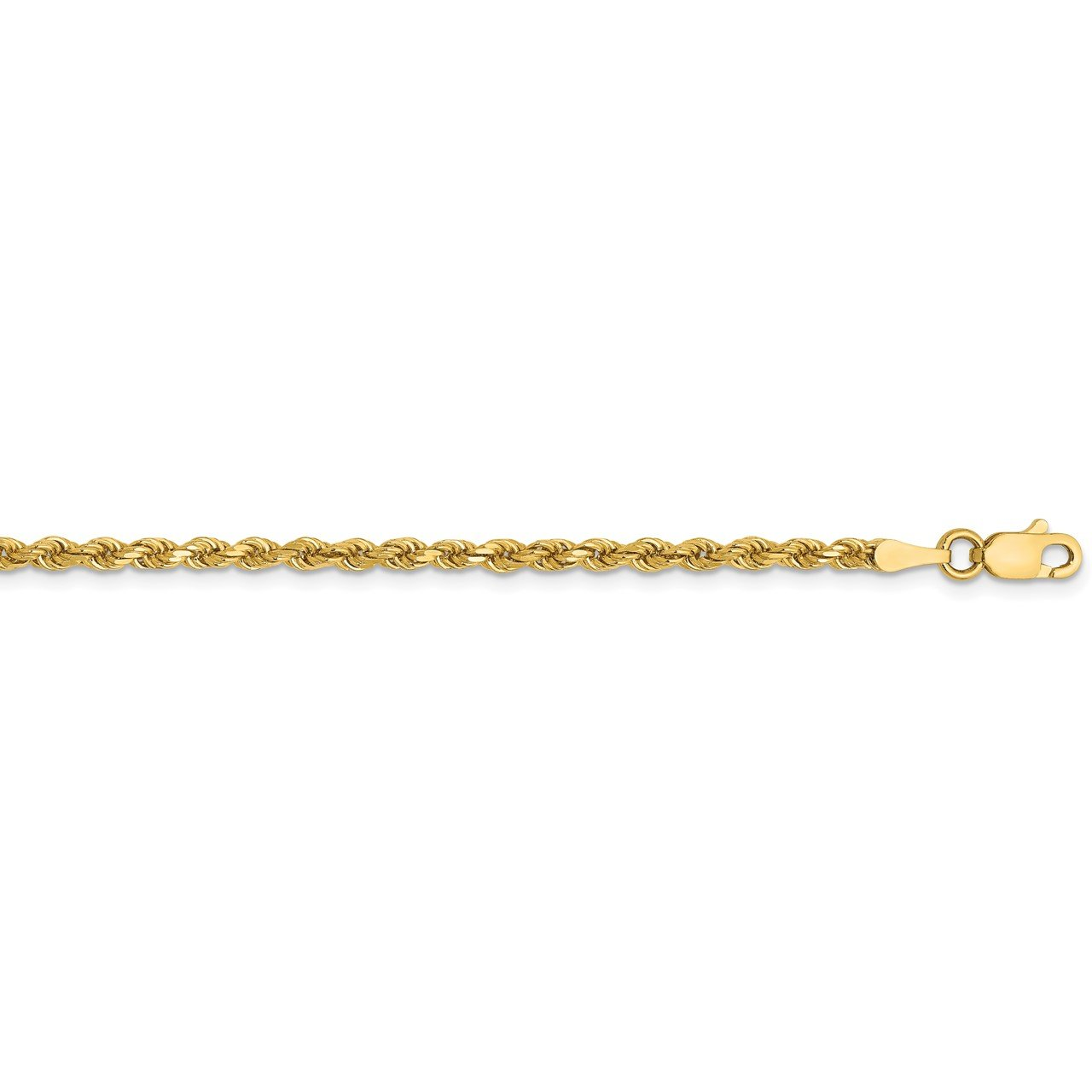 14k 2.5mm Semi-solid D/C Rope Chain