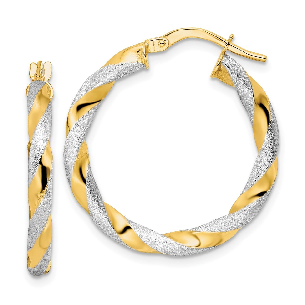 14K and Rhodium Brushed Polished Twisted Hoop Earrings
