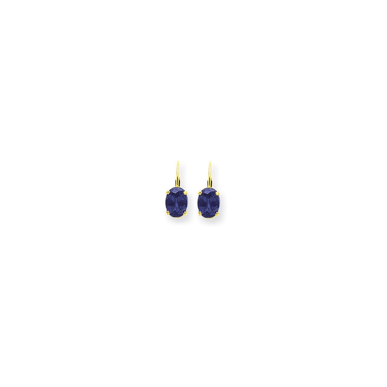 14k 8x6mm Oval Tanzanite leverback earring