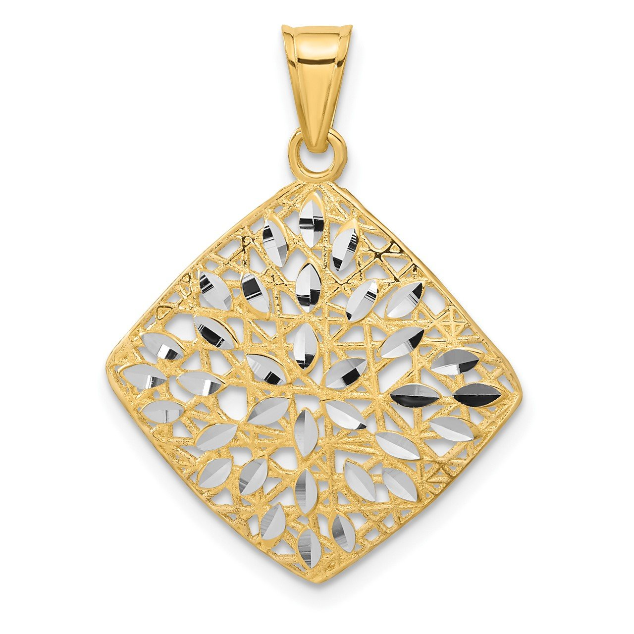 14k Polished and D/C Square Pendant