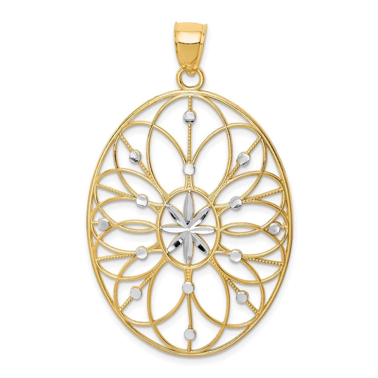 14Kwith Rhodium Floral Medallion Pendant
