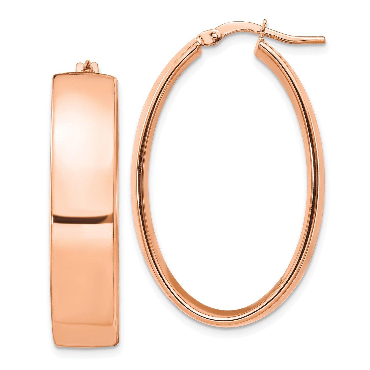 Leslie's 14K Rose Gold 7.75mm High Polished Oval Hoop Earrings
