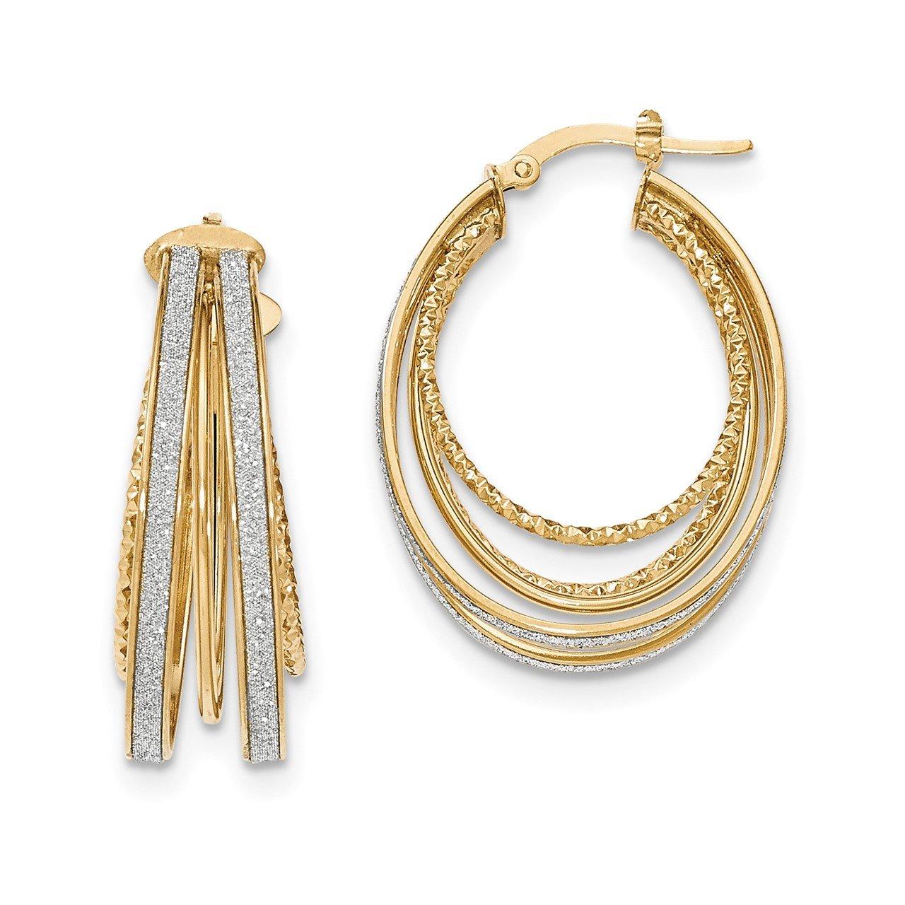 14k Polished Glitter Infused Large Oval Hoop Earrings