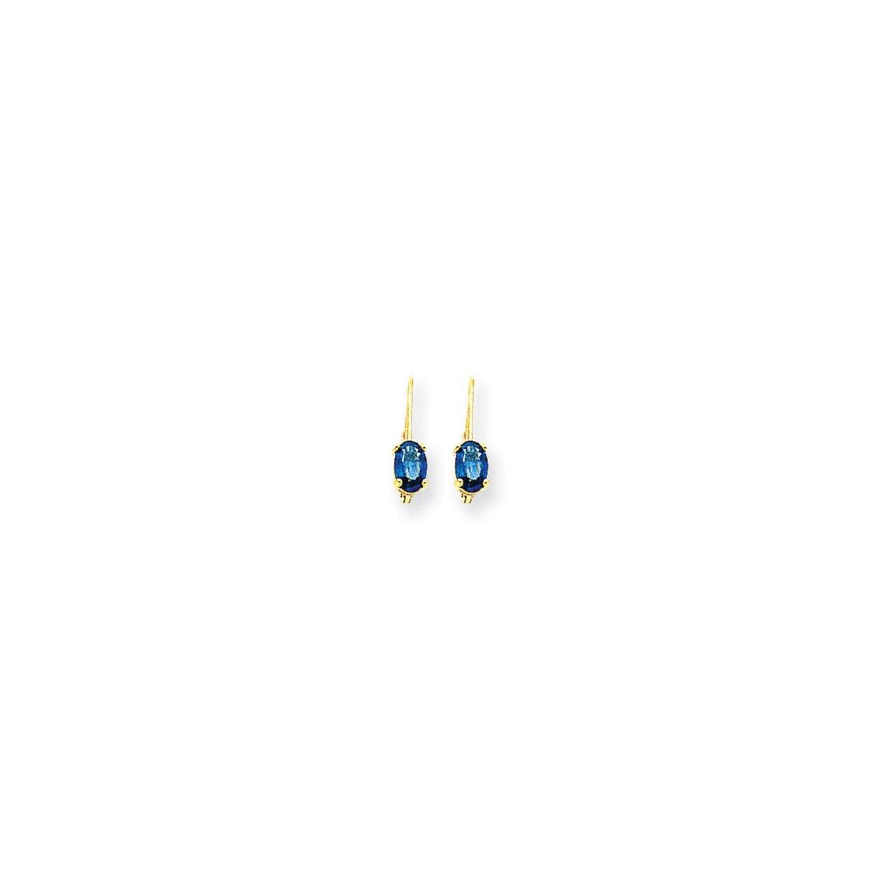 14k 6x4mm Oval Sapphire leverback earring