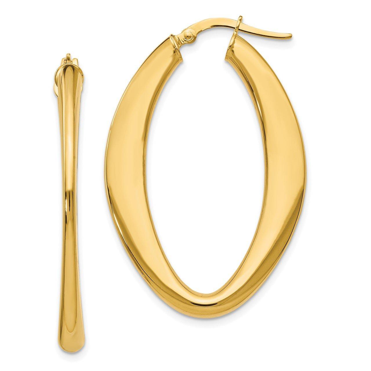 Leslie's 14K Polished Oval Hoop Earrings