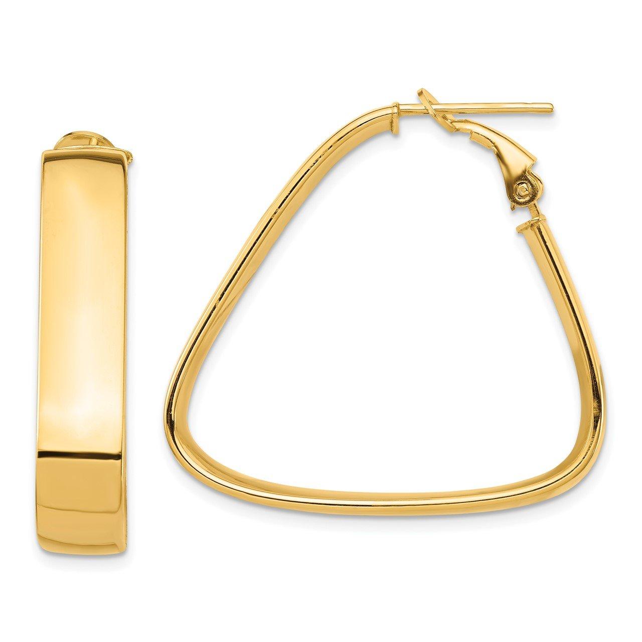14k High Polished 7mm Omega Back Triangle Hoop Earrings