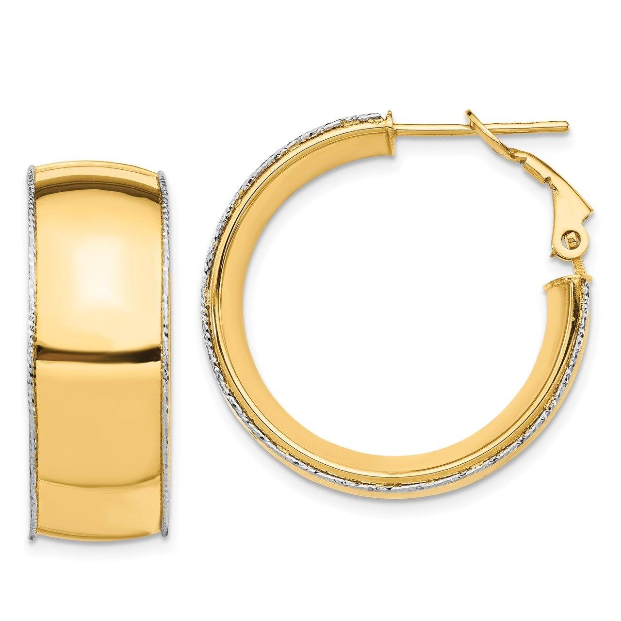 14ky 9.5mm with WG D/C Wire Accent Round Hoop Omega Back Earrings