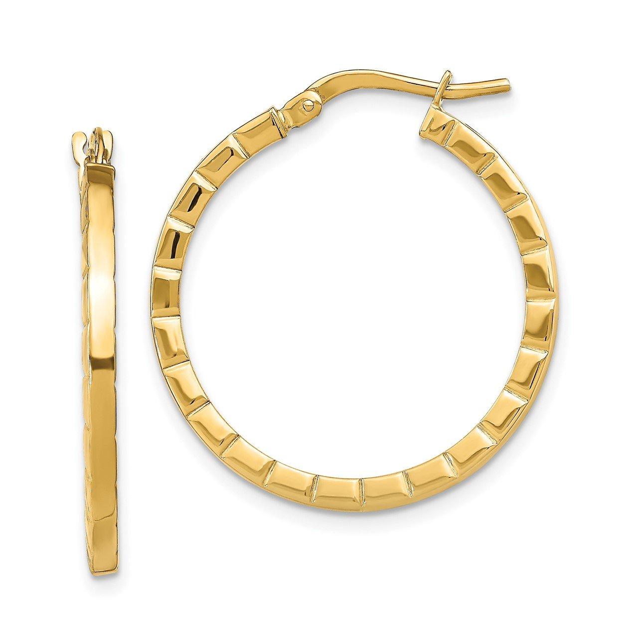 14k Large Striped Edge Hoop Earrings