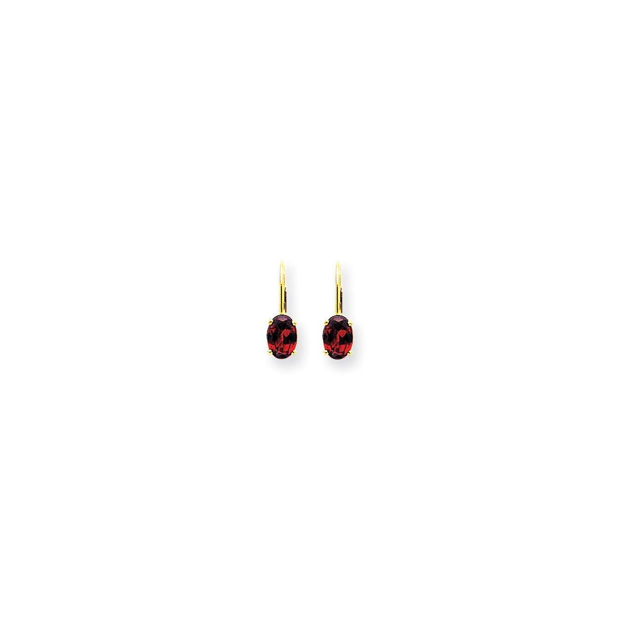 14k 7x5mm Oval Garnet Checker leverback earring