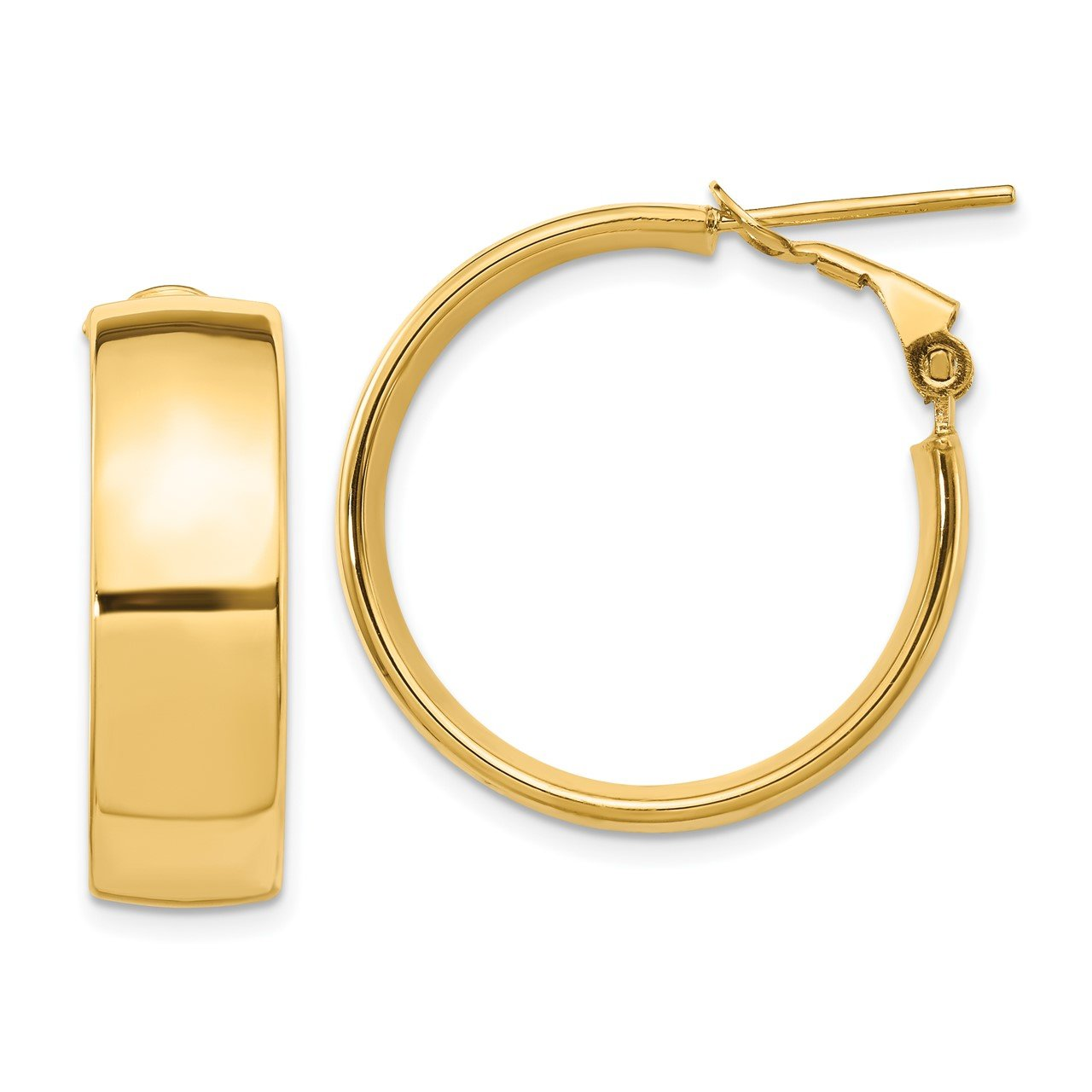 Leslie's 14K 7.75mm High Polished Omega Back Hoop Earrings