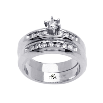14K White Gold Channel Set Natural Diamond Wedding Set (Center Stone Not Included)