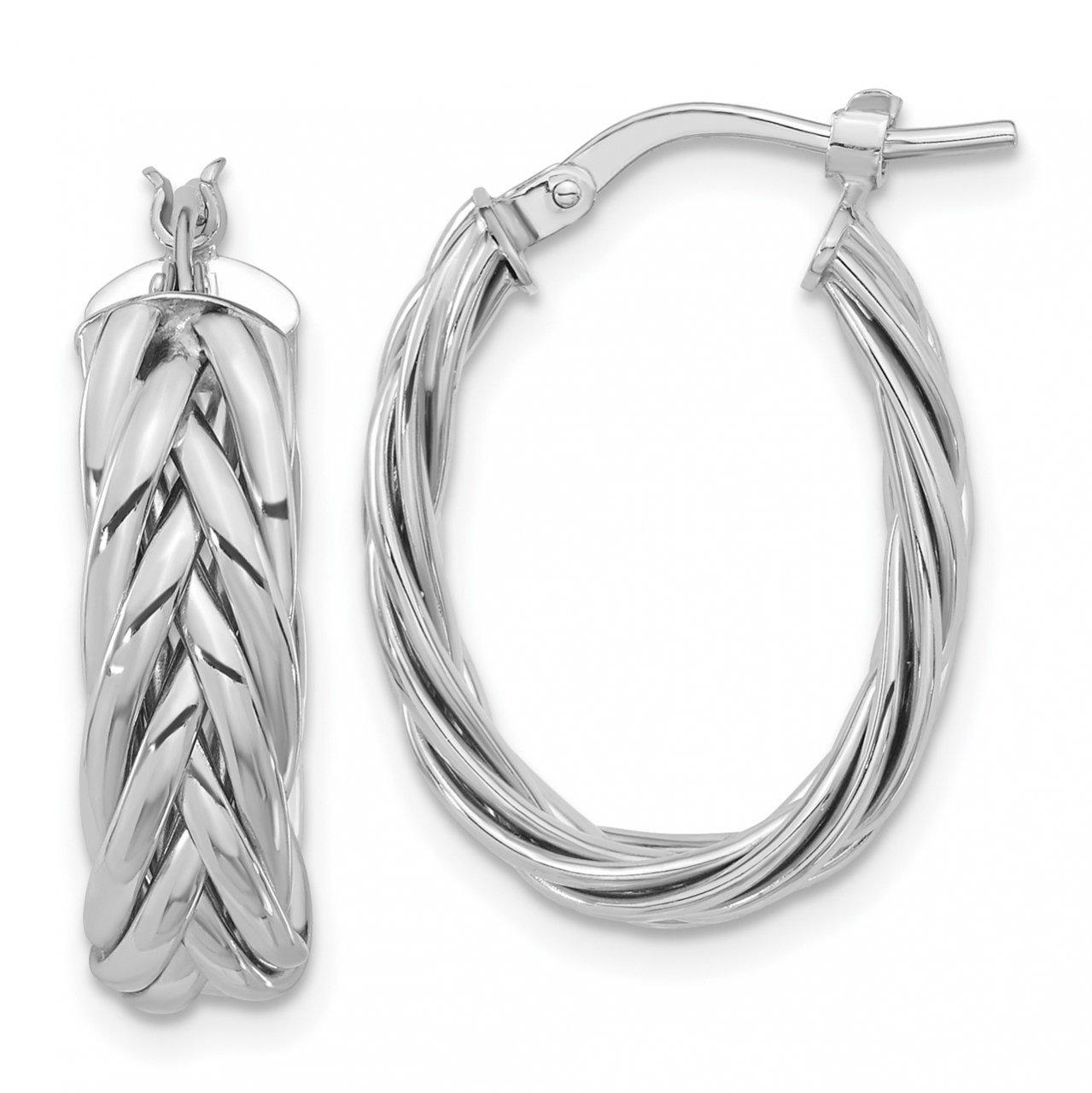 14k White Polished Braided Med Oval Hoop Earrings