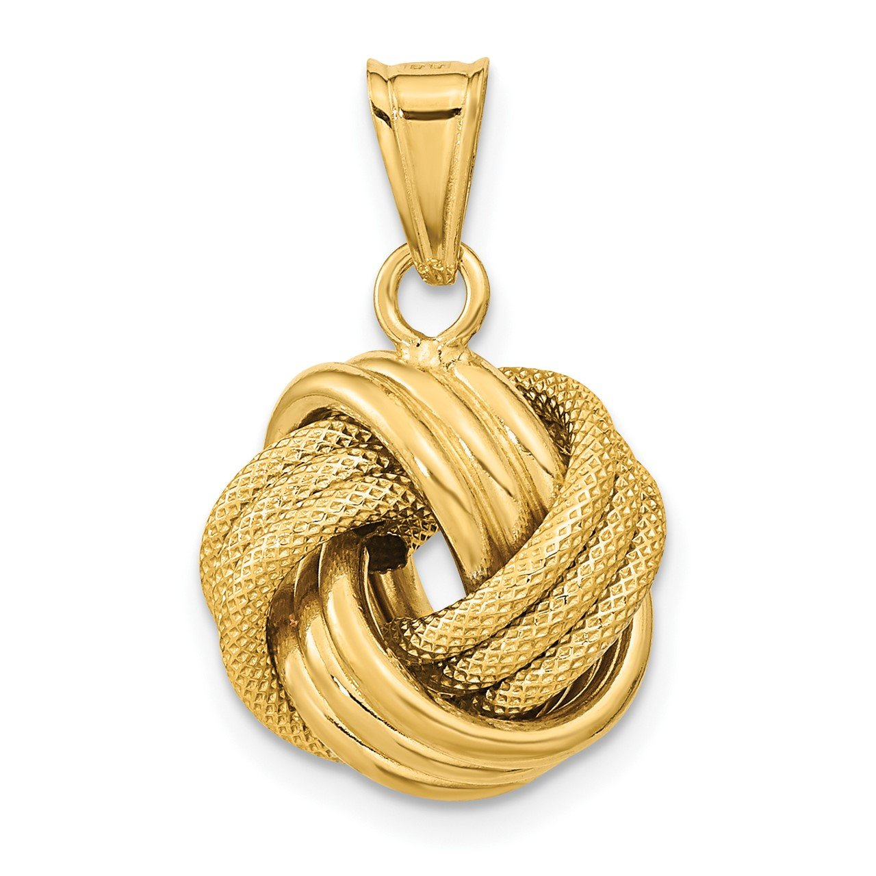 14k Polished Textured Love Knot Pendant