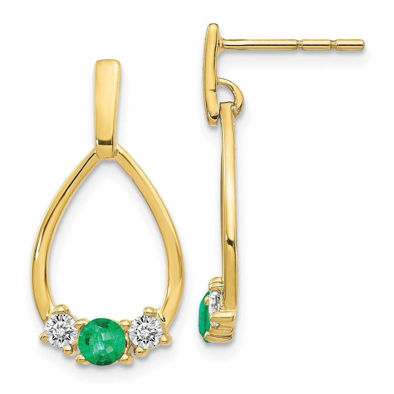 10k Emerald and White Sapphire Post Dangle Earrings