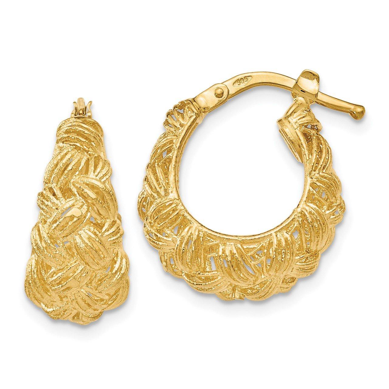 Leslie's 14K Polished Textured Hoop Earrings