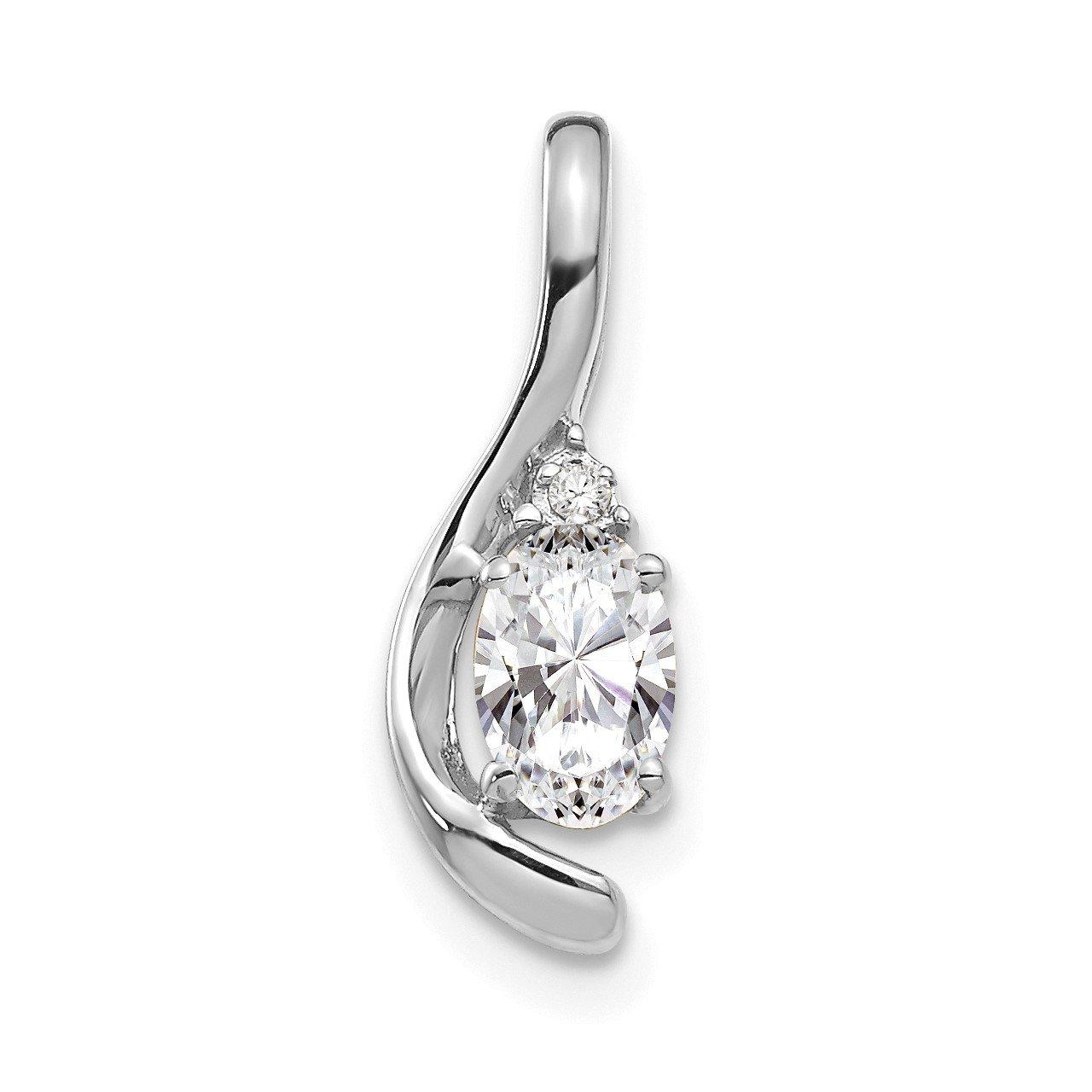 14k White Gold White Topaz and Diamond Pendant