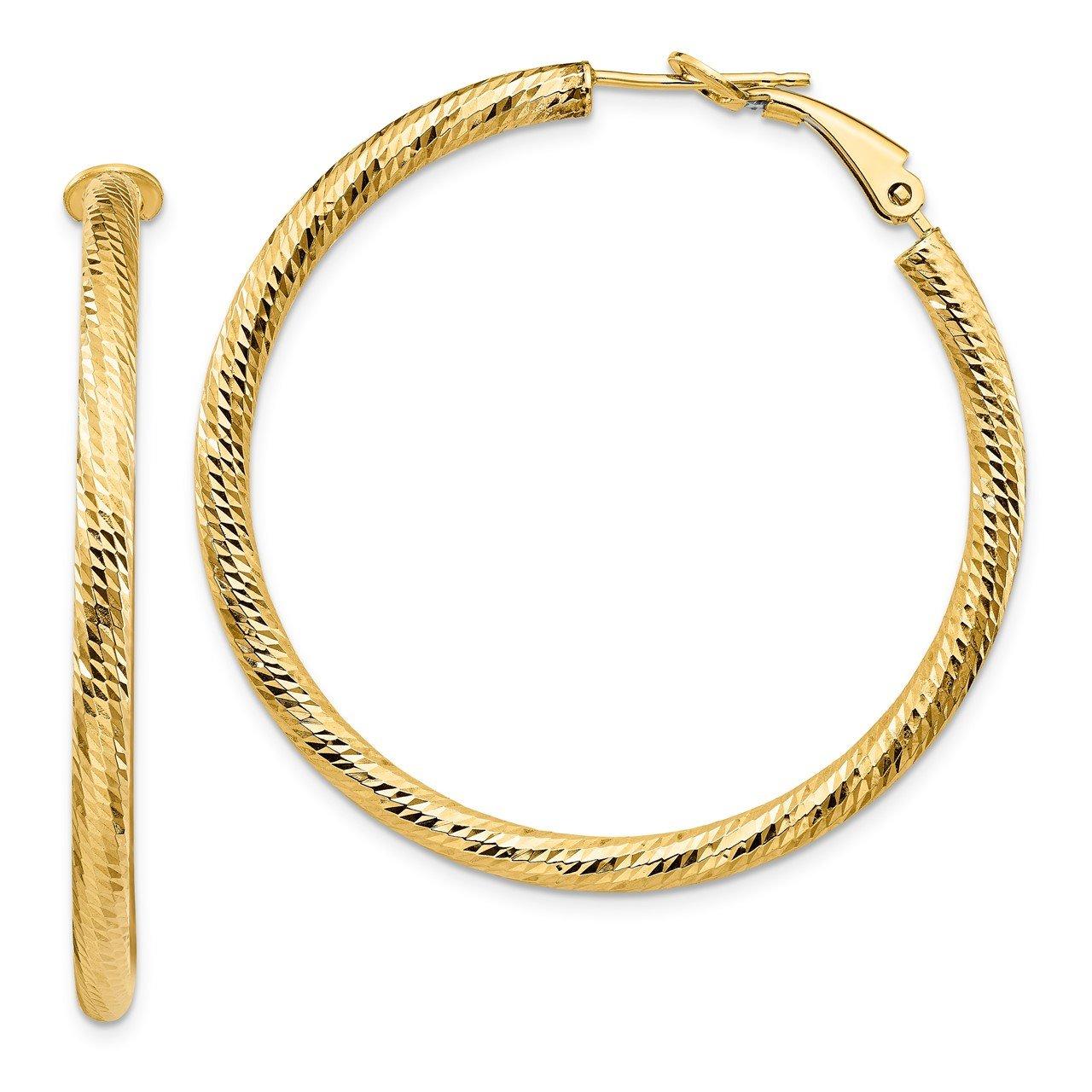 Leslie's 14K 3x35 D/C Round Omega Back Hoop Earrings